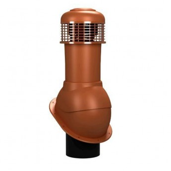 Вентиляционный выход неизолированный D 150 мм Н  550 мм с проходным элементом для мягкой и фальцевой кровли (готовой) с электрическим вентилятором 305 куб.м./час